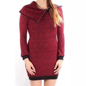 Trixxi Dress Turtleneck Zip Neck Sheath Fitted